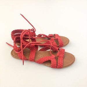 Hibou Red Braided Flat Sandal